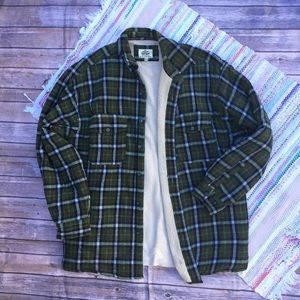 Levi's Sherpa Green Plaid Flannel Jacket